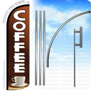 Coffee Windless Swooper Flag Kit Feather Banner Sign Brnw