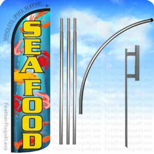 Seafood Windless Swooper Flag 15 Kit Feather Banner Sign Q
