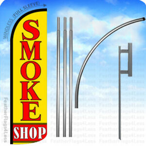 Smoke Shop Windless Swooper Flag 15 Kit Feather Banner Sign Yq