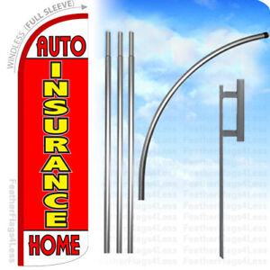 Auto Insurance Home Windless Swooper Flag 15 Kit Feather Banner Sign Rq