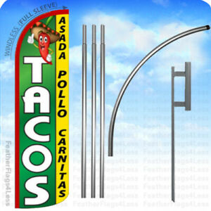 Tacos Asada Pollo Windless Swooper Flag 15 Kit Feather Banner Sign Gq