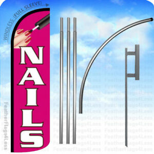 Nails Windless Swooper Flag Kit Feather Banner Sign Pq