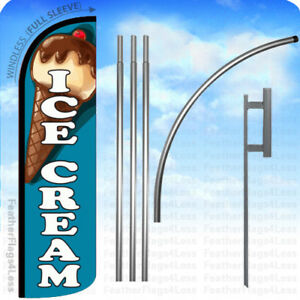 Ice Cream Windless Swooper Flag 15 Kit Feather Banner Sign Tall Bq