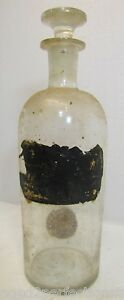 Antique Apothecary Medicine Bottle Jar Old Hand Blown Clear Glass With Orig Lid