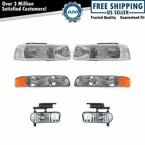 Headlight Parking Lamp Fog Light Kit Set Of 6 For Chevy Gmc Pickup Suv New