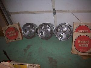Vintage 1960 s Nos Rocket Track Master Aluminum 14 X 7 Mag Wheels In Boxes Qty 3