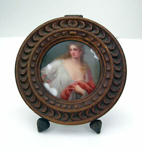 Firenze Porcelain Miniature Oil Painting Style Placque Signed Late 19 Early 20th