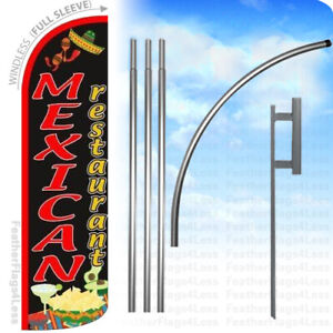 Mexican Restaurant Windless Swooper Flag 15 Kit Feather Banner Sign Kq
