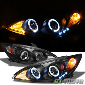 For Blk 2002 2006 Toyota Camry Led Halo Projector Headlights Lamps Left right