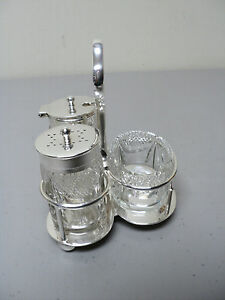 Antique English 3 Section Cut Glass Condiment Set Silver Plate Stand C 1910