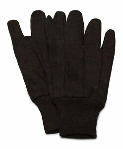 25 Dozen 300 Pair Cotton Brown Jersey Work Gloves Large L Men Size