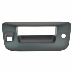 Tailgate Handle Bezel With Key Camera Hole Smooth Black For Silverado Sierra