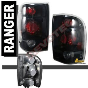 1998 2000 Ford Ranger Pickup Black Dark Smoke Tail Lights Lamps 1 Pair