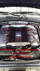 V6 Engine Cover Accent Carbon Fiber Decals Fits 2010 2014 Chevy Camaro