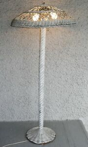 Antique Arts And Crafts Wicker Tall Floor Lamp Very Old Rattan Light Charming