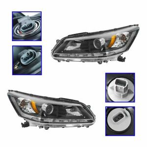 Headlights Headlamp Halogen Left Right Pair Set For 13 14 Honda Accord Ex L V6