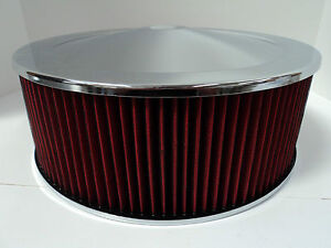 14 X 5 Round Chrome Washable Red Air Cleaner Drop Base Extreme Chevy Sbc 350