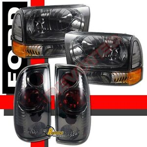 1999 2004 Ford F250 F350 Super Duty Pickup Headlights Corner Tail Lights Smoke
