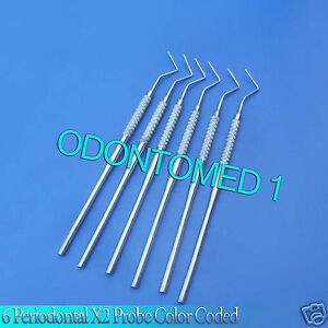6 Periodontal X2 Probe Color Coded Dental Instruments