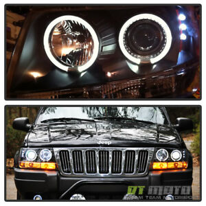 Black 1999 2004 Jeep Grand Cherokee Led Dual Halo Projector Headlights Headlamps