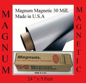 24 Width X 5ft Roll 30 Mil Blank Magnetic Sign Sheet Cars Magnum Free Shipping