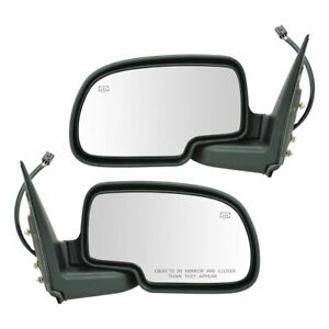 Gloss Black Power Heated Side Mirror Lh Rh Pair Set For Chevy Gmc Pickup Truck