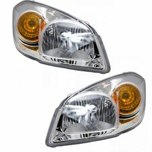 Headlights Headlamps W Chrome Bezel Lh Rh Pair Set For 05 10 Chevy Cobalt