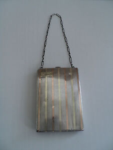 Unusual Sterling Silver 18k Art Deco Ladies Dance Coin Purse With Compact