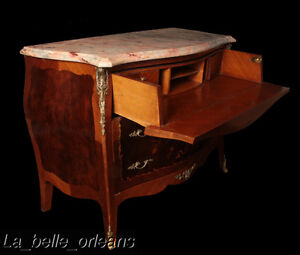 French Louis Xv Inlaid Dresser With Secretary Marble Top