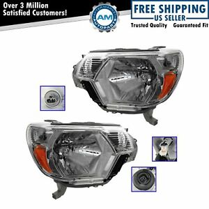 Headlights Headlamps Left Lh Right Rh Pair Set For 12 13 Toyota Tacoma