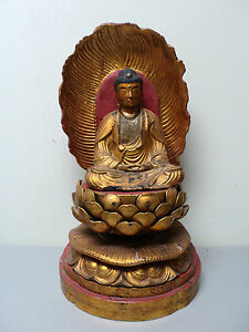 Large Antique Chinese Hand Carved Wood Gilt Decorated Buddha Figure