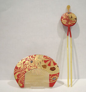 Beautiful Antique Japanese Kushi Comb Kanzashi Hairpin Red Lacquered Set