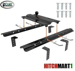 Curt 25k Bent Plate Gooseneck Trailer Hitch W 5th Wheel Universal Rail 2 5 16