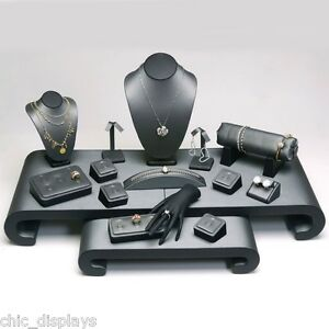 17 Pcs Grey Black Display Set Faux Leather Jewelry Showcase Stand Ring Display