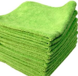 96 Lime Microfiber Towel New Cleaning Cloths Bulk 16x16 Manufacturers Sale