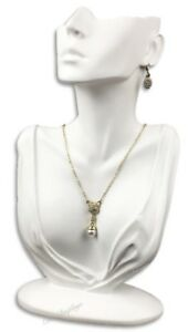 12 1 4 White Jewelry Earring Display Bust W partial Face Necklace Display Stand