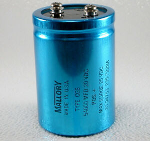 New Capacitor Mallory 54000 Mfd uf 20v Dc Type Cgs