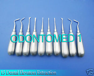 15 Dental Elevators Extraction Surgical Instruments New