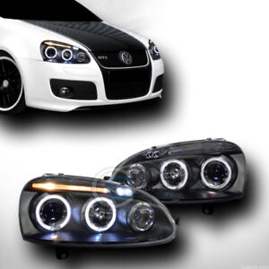 Black Drl Led Halo Rims Projector Head Lights Signal Jy 06 09 Golf Gti Jetta Mk5