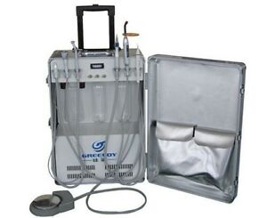 Portable Dental Unit With Air Compressor Ultrasonic Scaler Led Curing Light 2h