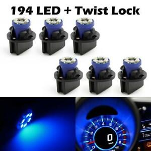 6x Pc168 Instrument Panel Cluster Blue Led Light Bulb Dash Sockets For Cadilla
