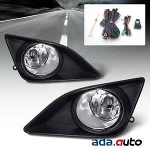 For 2009 2010 Toyota Corolla Glass Lens Black Clear Fog Lights Harness Switch