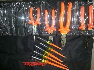 Cemented Tr 9elk Insulated Basic Electrician s Tool Roll 9 Piece Set