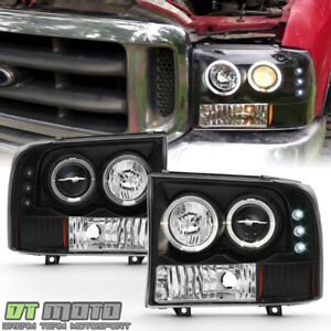 Blk 99 04 F250 F350 Superduty Excursion Led Halo Projector Headlights Left right