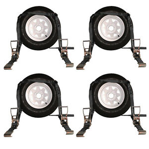 Four 4x Flat Bed Auto Hauler Tie Down Systems Black