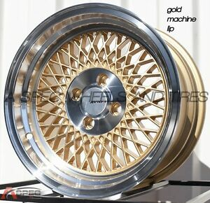 Gold 15x8 25 Avid 1 Av 18 4x100 Rim Fit Integra Gsr Dc2 Miata Civic Si Xb Fit