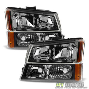 Black 2003 2006 Chevy Silverado Avalanche Headlights bumper Signal Parking Lamps
