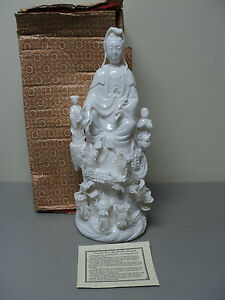 Unusual Vintage Blanc De Chine Chinese Kwan Yin With Nine Dragons Figurine