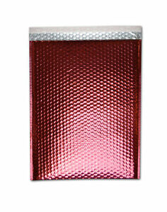 Metallic Glamour Bubble Mailers Padded Envelope Bags 7 5 X 11 Red 250 Pcs