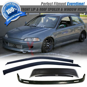 Fits 92 95 Honda Civic 3dr Eg Bys Pu Front Lip Roof Spoiler Sun Window Visor
